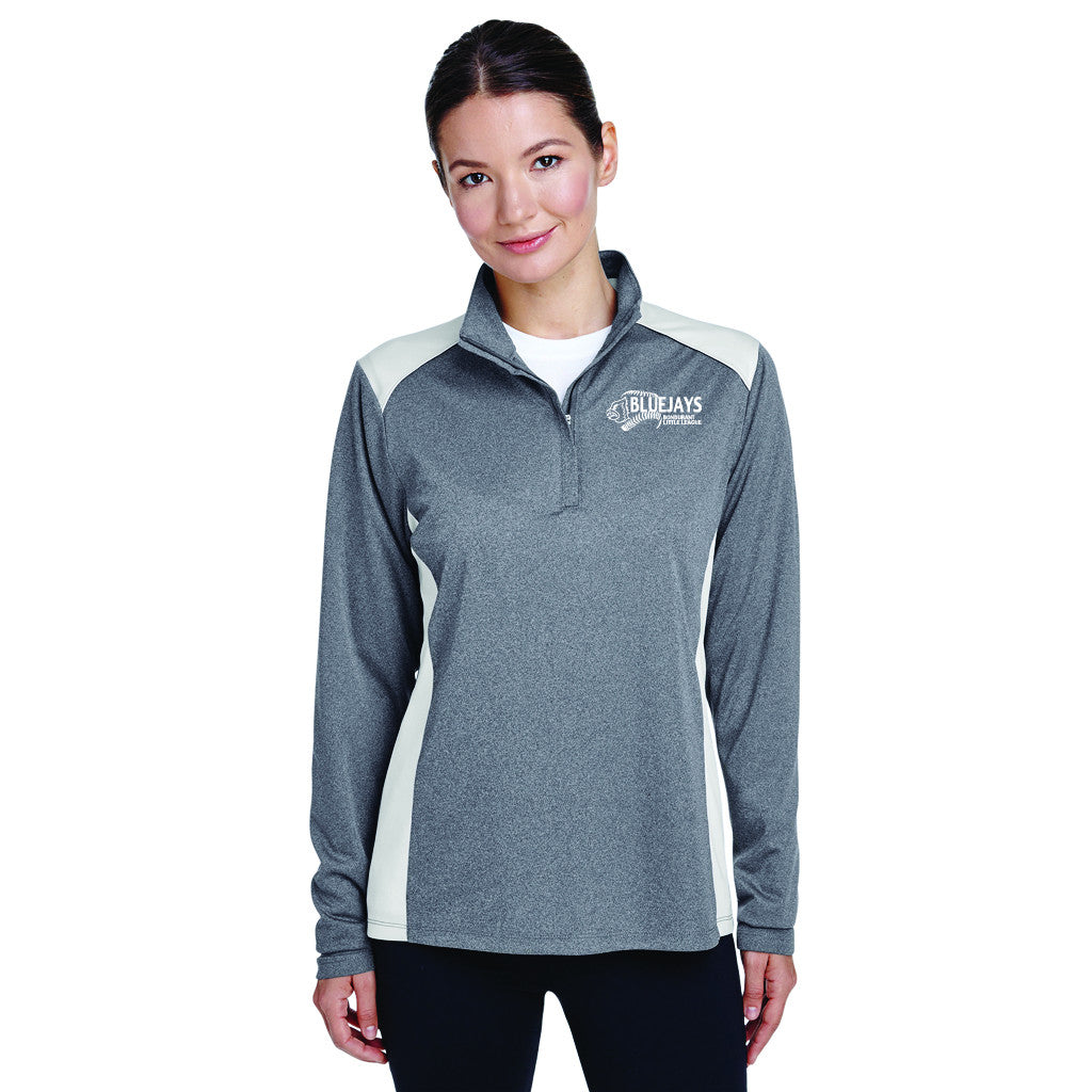 BLUEJAYS - Team 365 Ladies' Excel Mélange Interlock Performance Quarter-Zip Top