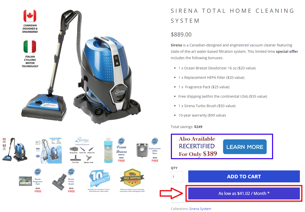 Sirena Bread Financing Option 1 (Single Product)