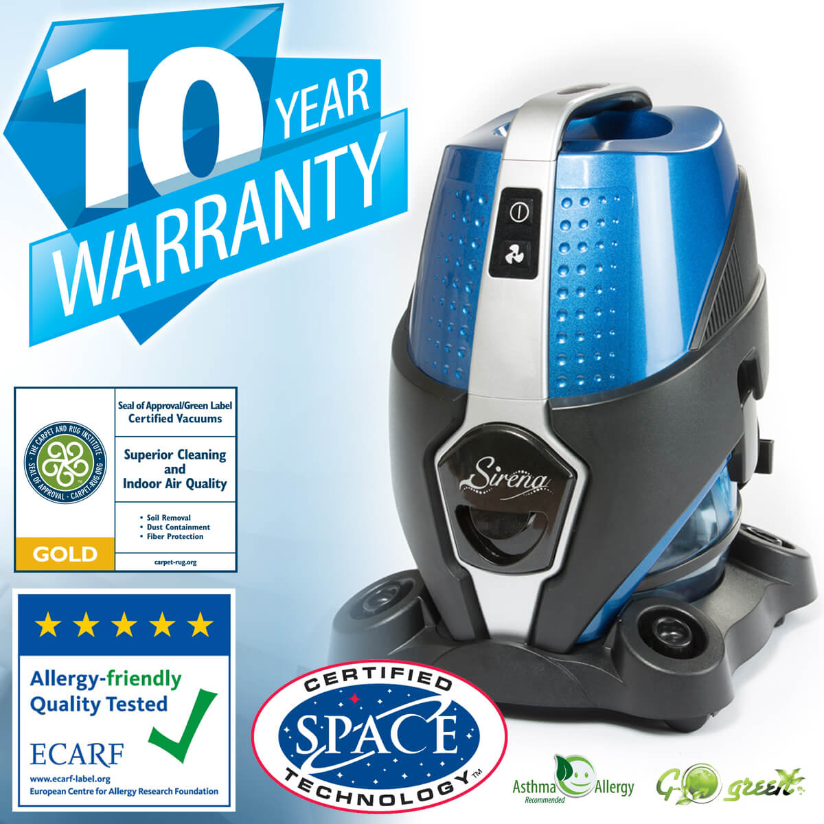 Sirena Vacuum Certifications and Warranty