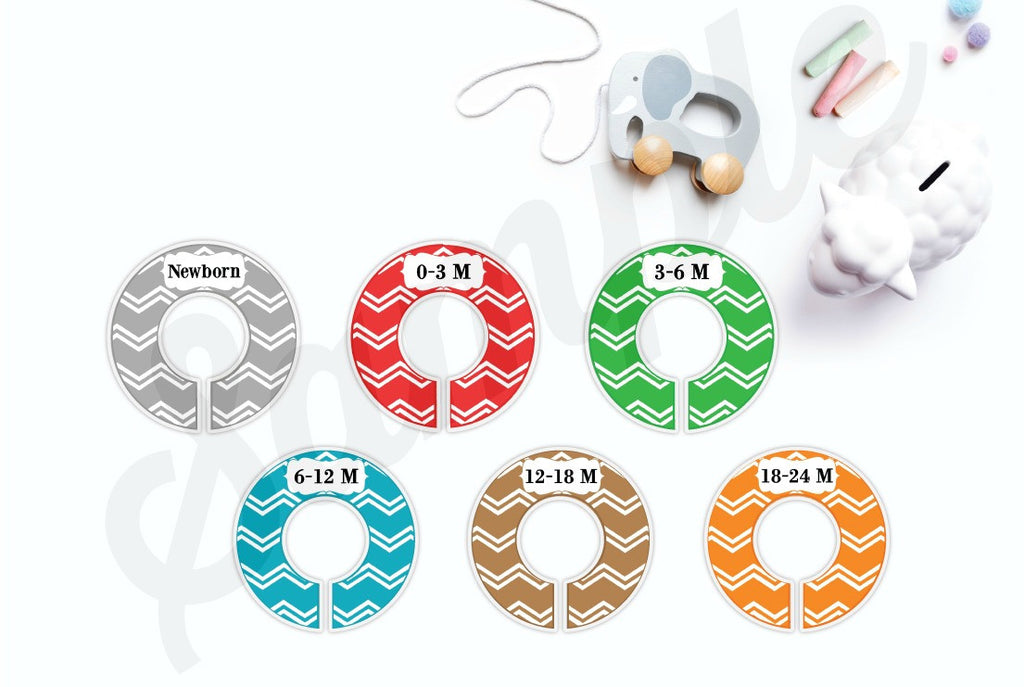 Set of 6 Chevron Baby Closet Dividers