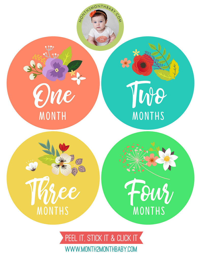 Set of 12 Month 2 Month Baby Spring Flowers Collection Monthly Stickers