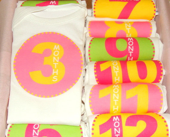 Set of 12 Month 2 Month Baby Milestone All About Girls Collection