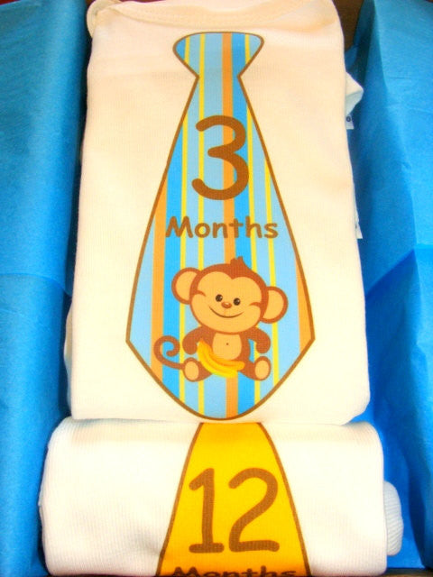 Set of 5 Month 2 Month Baby Milestone Monkey Tie Collection