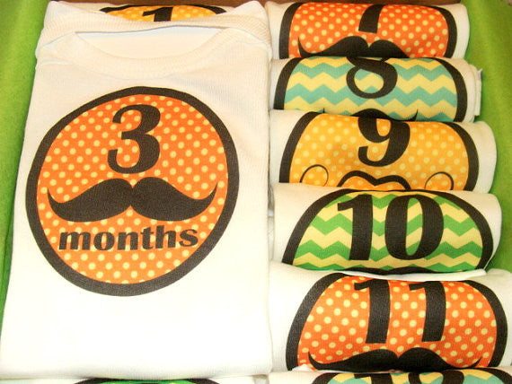 Set of 12 Month 2 Month Baby Milestone Mustache Boy Collection