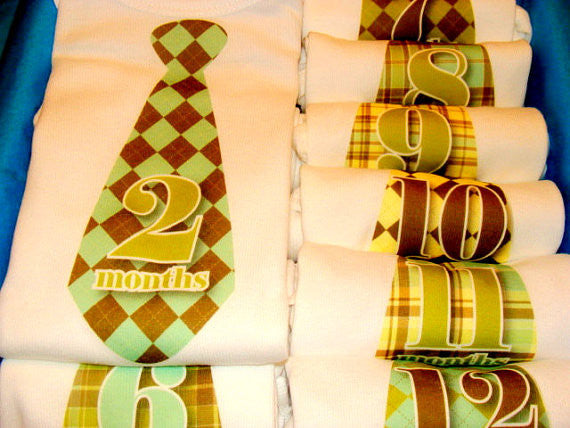 Set of 12 Month 2 Month Baby Milestone Preppy Tie Collection