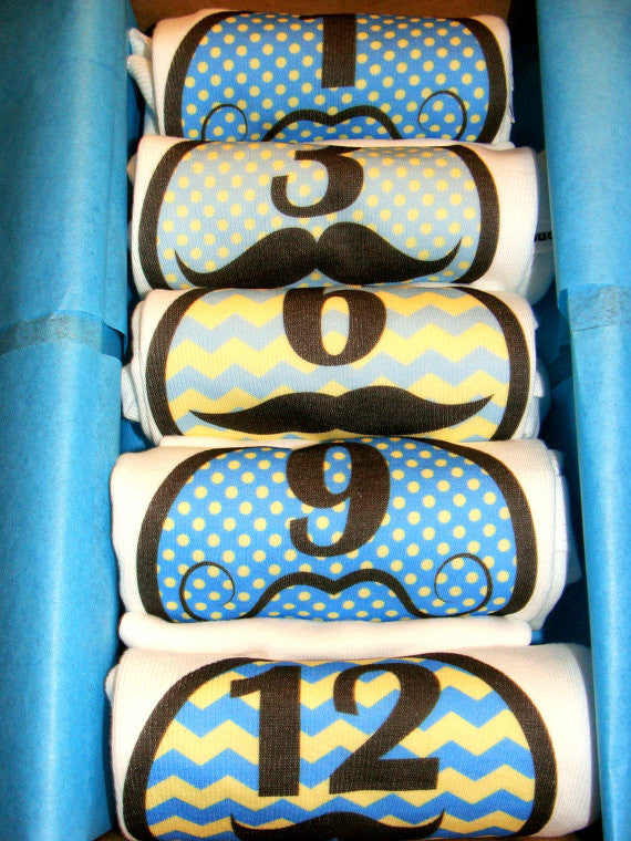 Set of 5 Month 2 Month Baby Milestone Mustache Blues Collection