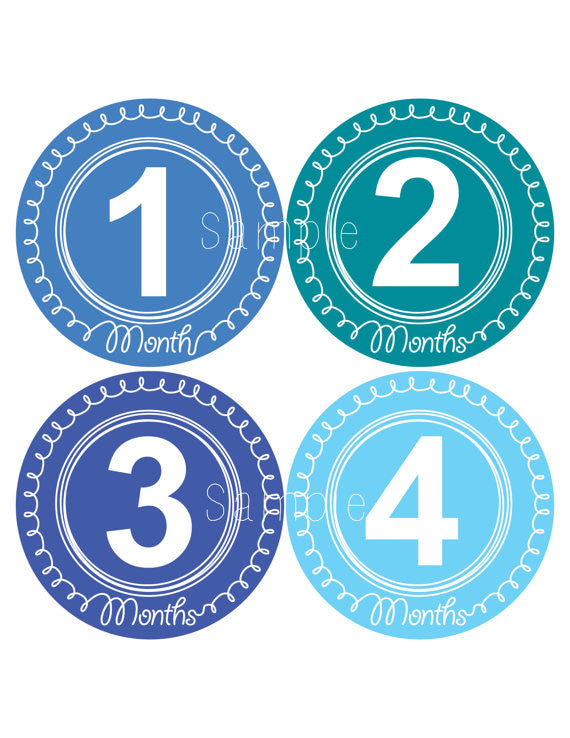 Set of 12 Month 2 Month Baby Swirl Boy Collection Monthly Stickers