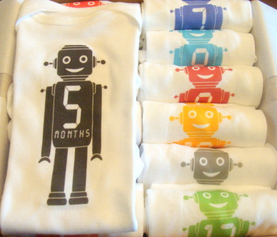 Set of 12 Month 2 Month Baby Milestone Robot Collection