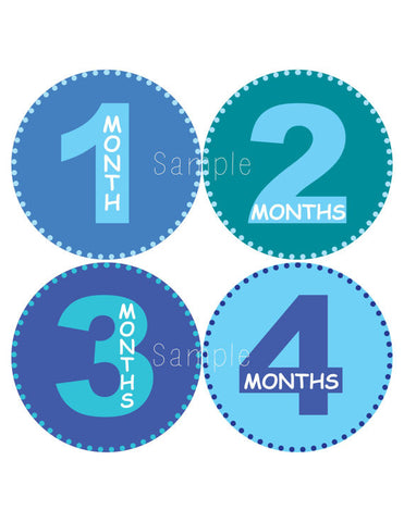 Set of 12 Month 2 Month Baby Milestone All About Boys Collection Monthly Iron On Decals