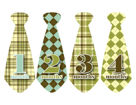 Set of 12 Month 2 Month Milestone Preppy Tie Collection Monthly Iron On Decals