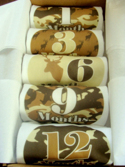 Set of 5 Month 2 Month Baby Milestone Hunter Boy Collection