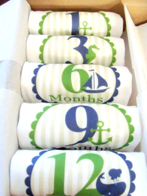 Set of 5 Month 2 Month Baby Milestone Nautical Boy Collection