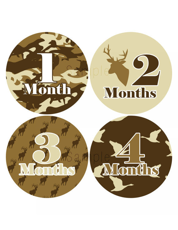 Set of 12 Month 2 Month Milestone Hunter Boy Collection Monthly Iron On Decals
