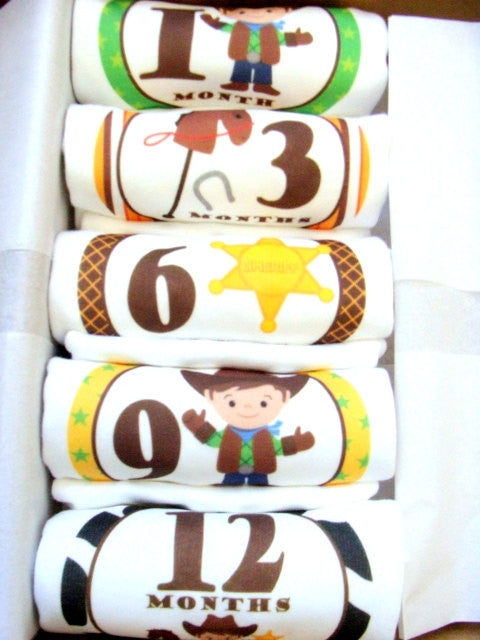 Set of 5 Month 2 Month Baby Milestone Cowboy Collection