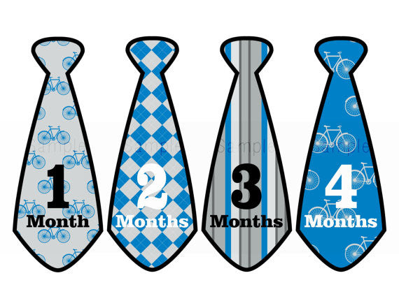 Set of 12 Month 2 Month Baby Bicycle Preppy Tie Collection Monthly Stickers