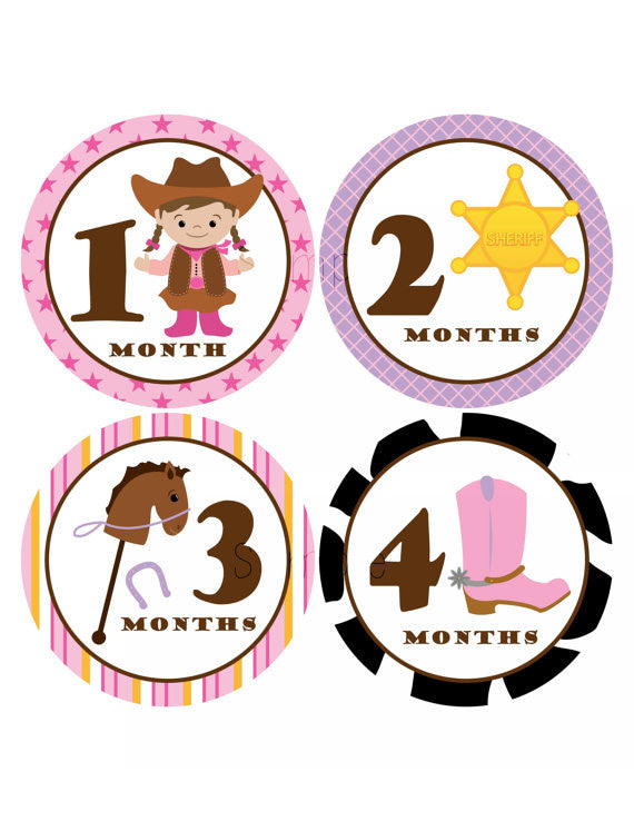 Set of 12 Month 2 Month Milestone Cowgirl Collection Monthly Iron On Decals