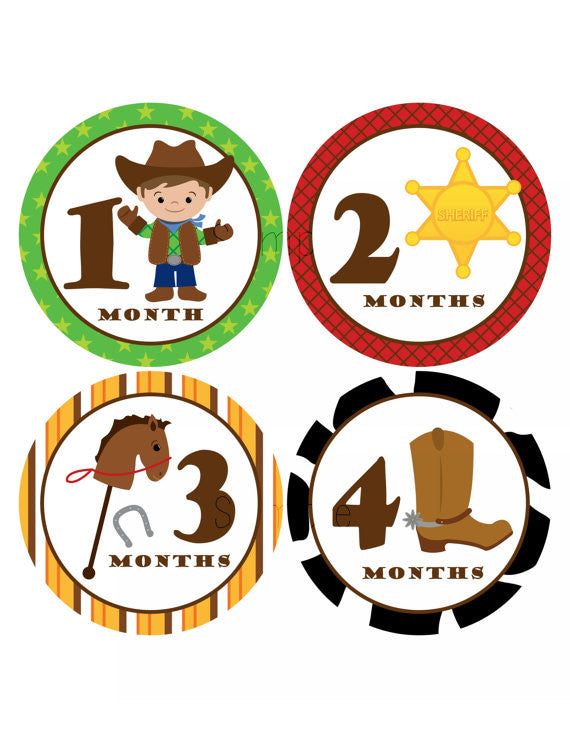 Set of 12 Month 2 Month Baby Cowboy Collection Monthly Stickers