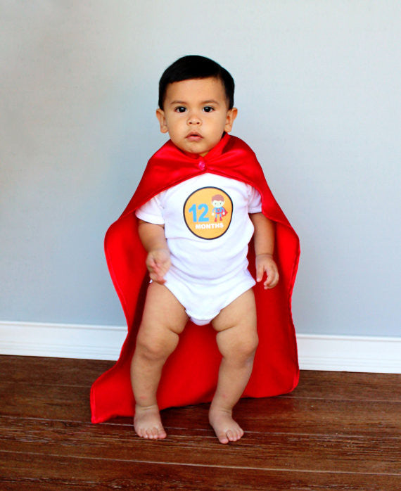 Set of 12 Month 2 Month Baby Super Heroes Inspired Collection Monthly Stickers