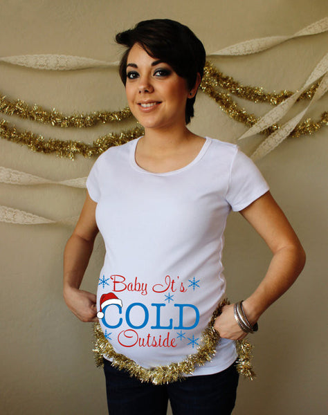 Christmas Baby It's Cold Outside 100% Cotton White Maternity T Shirt