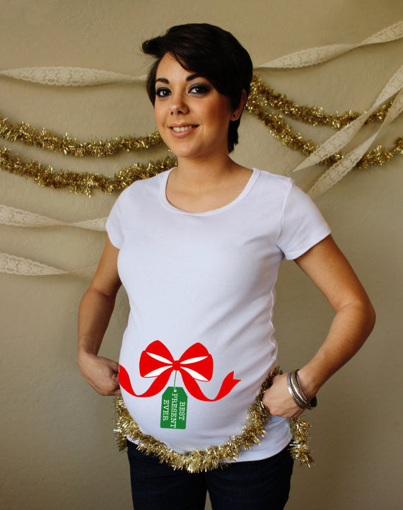Christmas Best Present Ever 100% Cotton White Maternity T Shirt