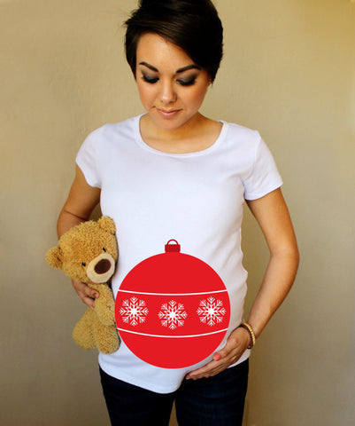 Christmas Ugly Sweater Style Ornament 100% Cotton White Maternity T Shirt