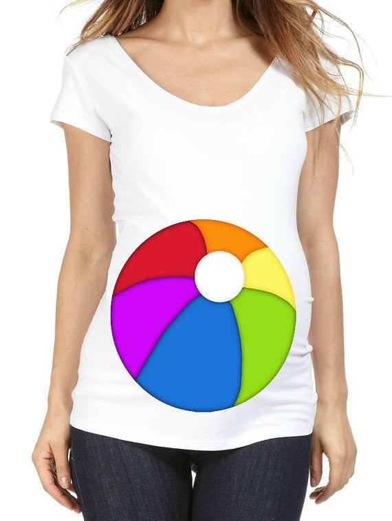 Beach Ball 100% Cotton White Maternity T Shirt