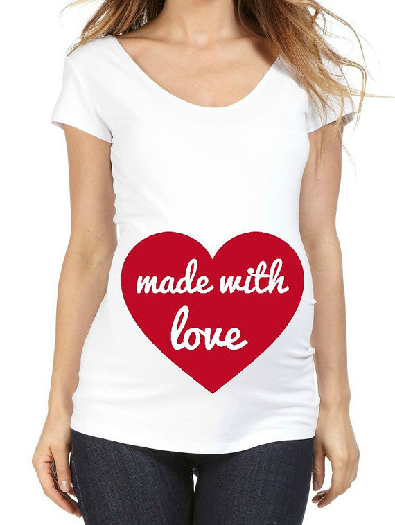 Valentines Made With Love 100% Cotton White Maternity T Shirt