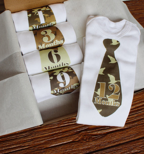 Set of 5 Month 2 Month Baby Milestone Hunter Tie Collection