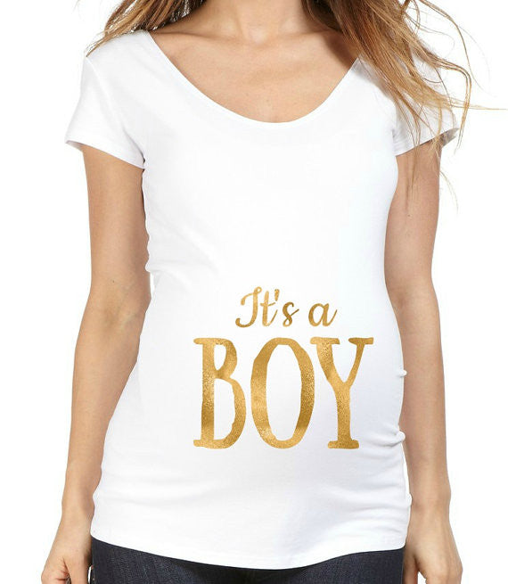 Gold Foil It's a Boy or It's a Girl 100% Cotton White Maternity T Shirt