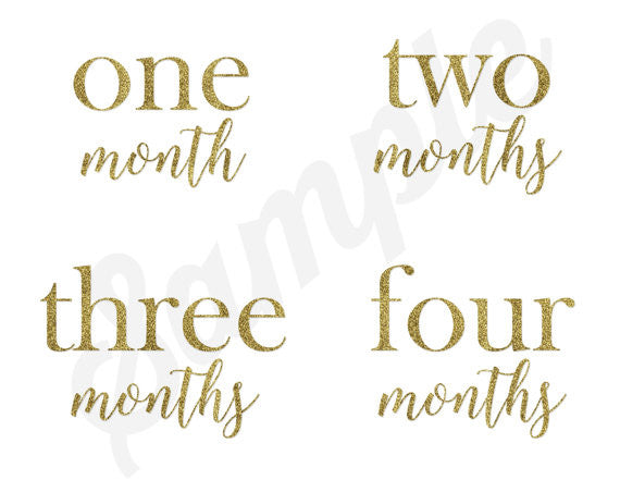 Set of 12 Month 2 Month Baby You Are Golden Collection Monthly Stickers
