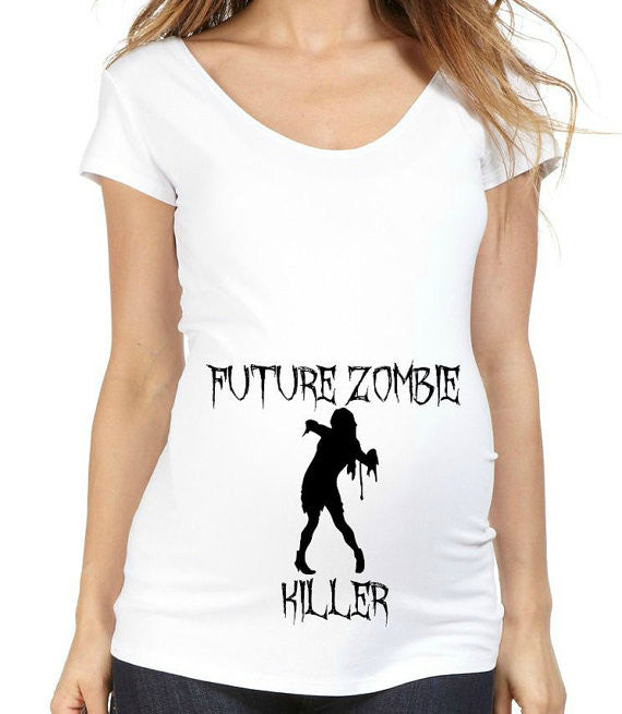 Halloween Future Zombie Killer 100% Cotton White Maternity T Shirt