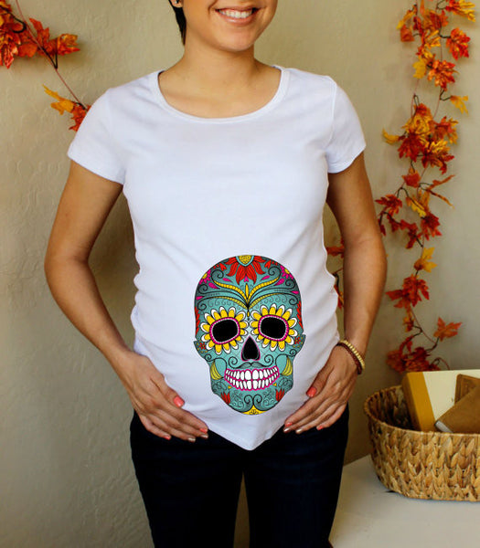 Halloween Day of the Dead Skull 100% Cotton White Maternity T Shirt