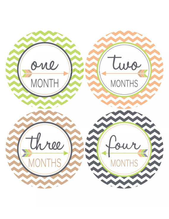 Set of 12 Month 2 Month Baby Arrow Boy Collection Monthly Stickers