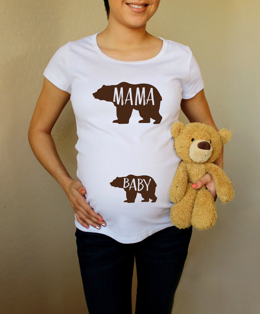 Mama Bear Baby Bear 100% Cotton White Maternity T Shirt