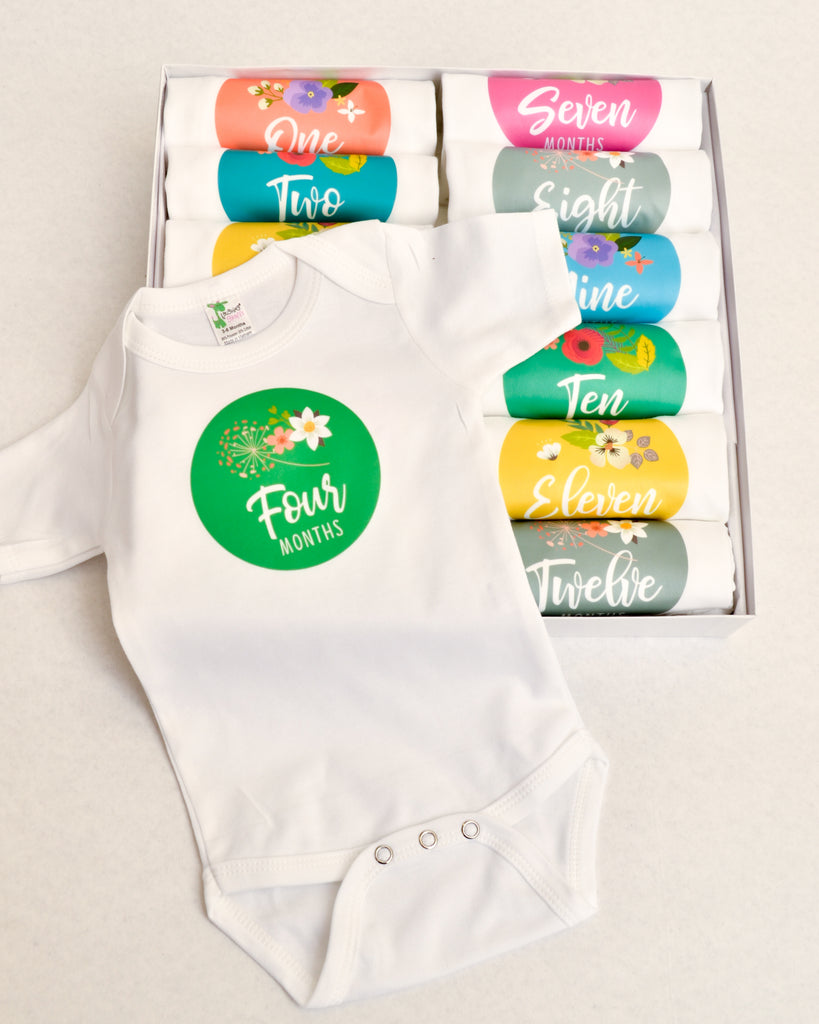 Set of 12 Month 2 Month Baby Milestone Colorful Floral Collection