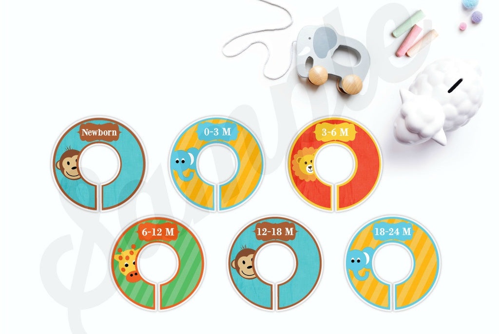 Set of 6 Zoo Animals Baby Closet Dividers