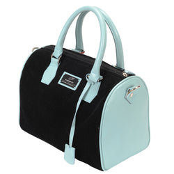 BackFire Handbag - Corduroy Black / Leather Light Blue
