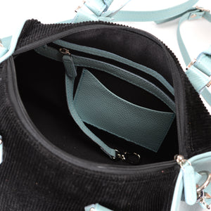 Classics - BackFire Handbag - Corduroy Black / Leather Light Blue
