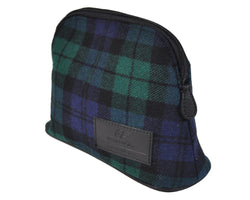 MakeUp Bag / Dopp Kit - Tartan Green-Blue-Black