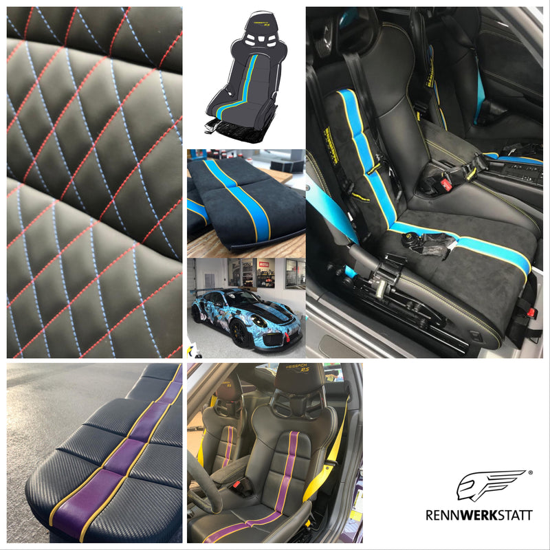 Bespoke RENNWERKSTATT® Seat Insert Set for Porsche Light Weight Bucket (LWB) Seats incl. Foam Parts