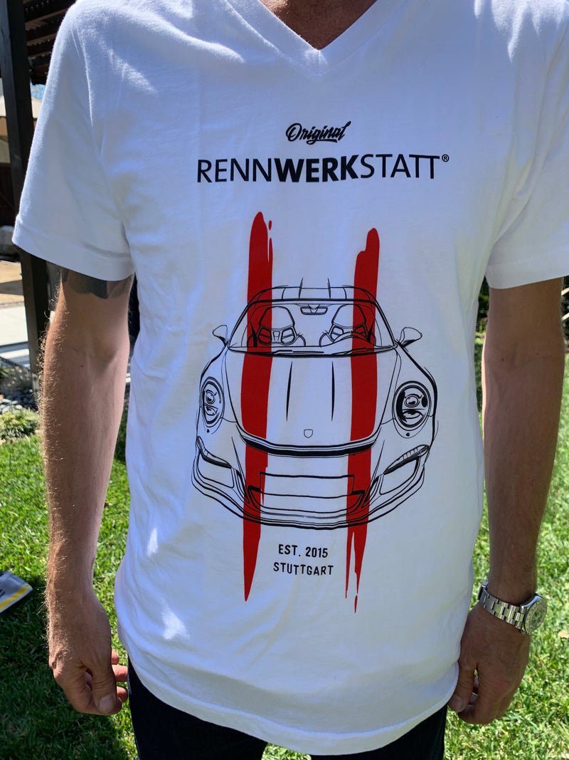 T-Shirt - Porsche 911 R - Red Stripes on White