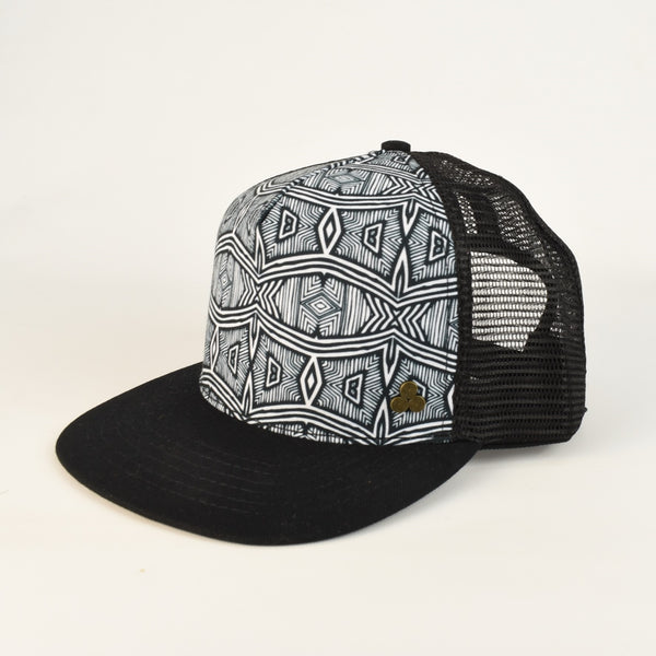 Black and White African Print Trucker Hat mesh back, adjustable size