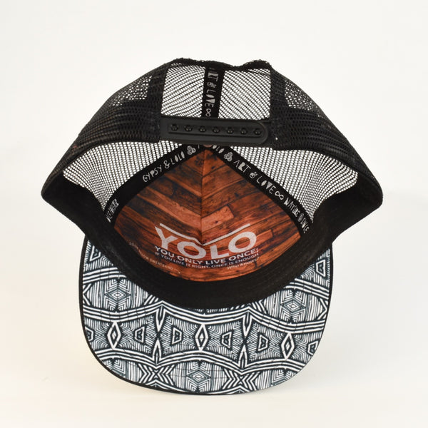 African Print hat with inspirational quote inside *black