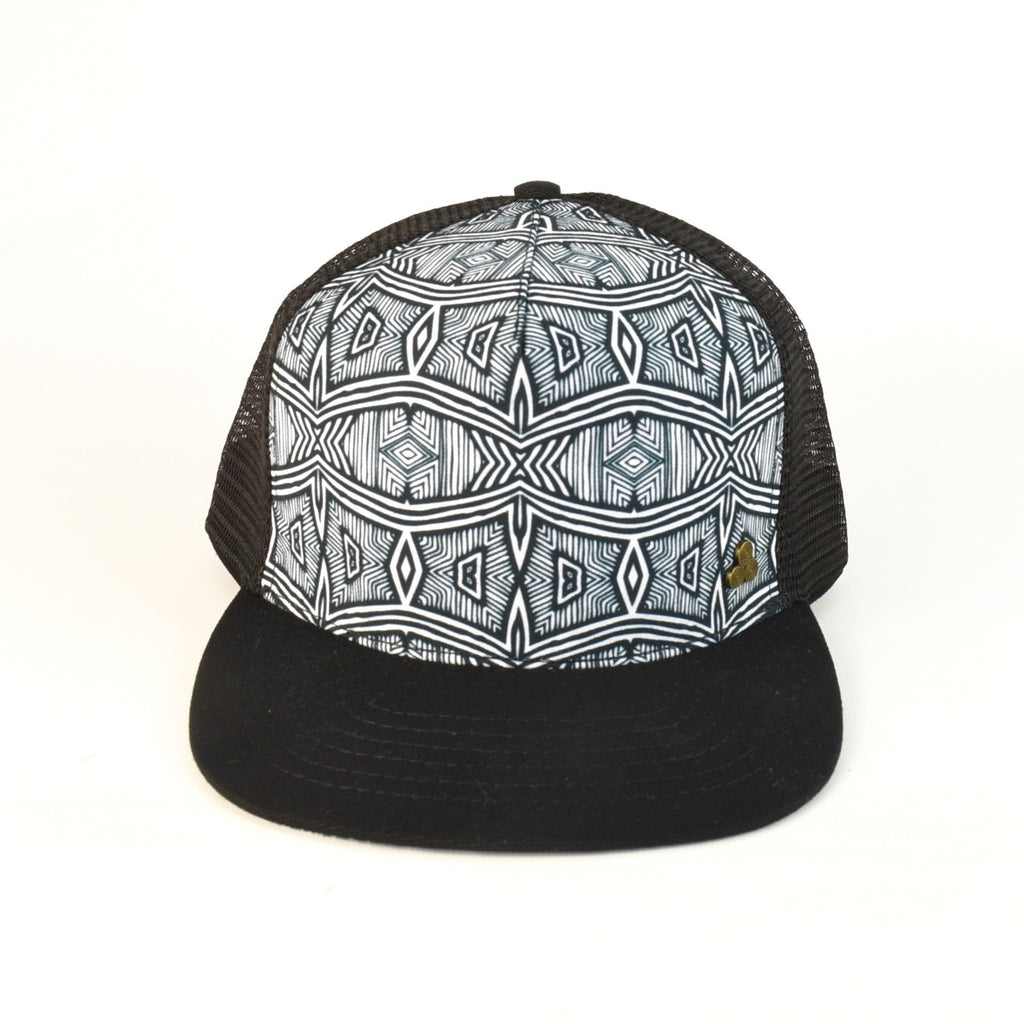 Black and White African Print Trucker Hat, adjustable size, black mesh back