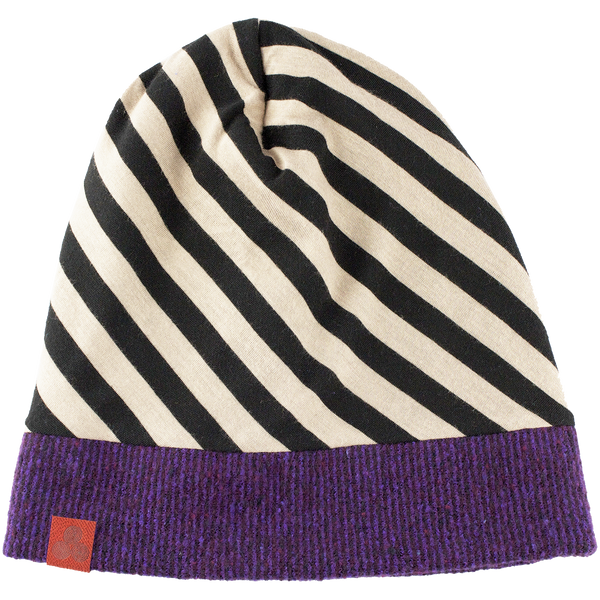 Kid's beanie Purple/Black-White stripe