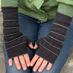womens black wrist warmers hand warmer with contrast topstitching *charcoal