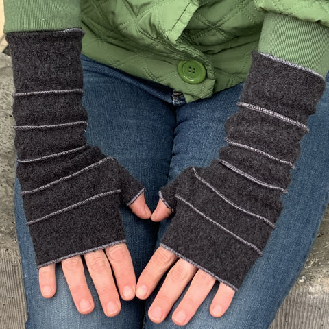 womens black wrist warmers hand warmer with contrast topstitching
