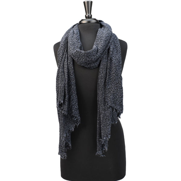 women dark blue knit scarf