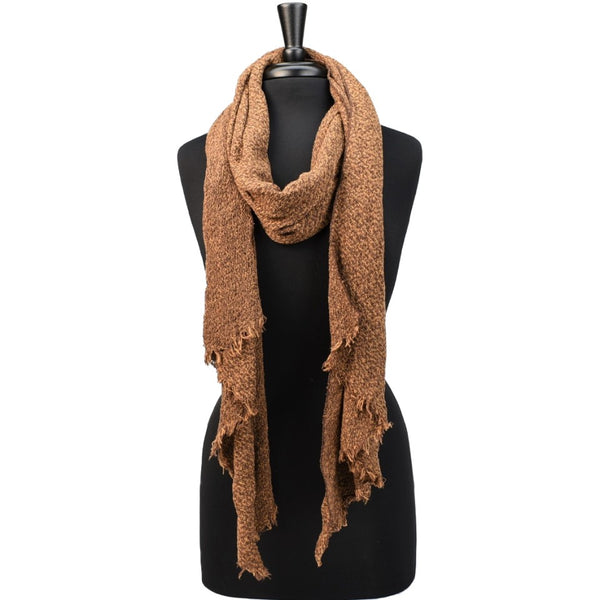 women rust knit scarf