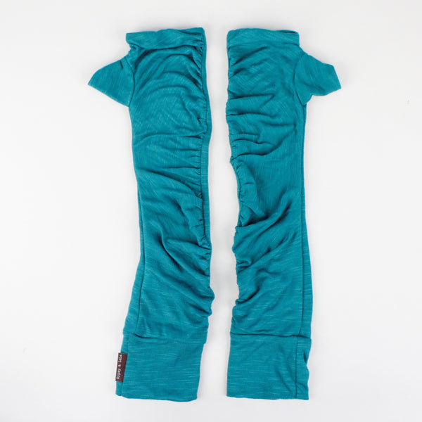 Long wrist warmers turquoise color